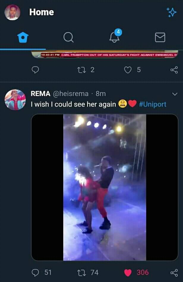 Rema tweet at Uniport