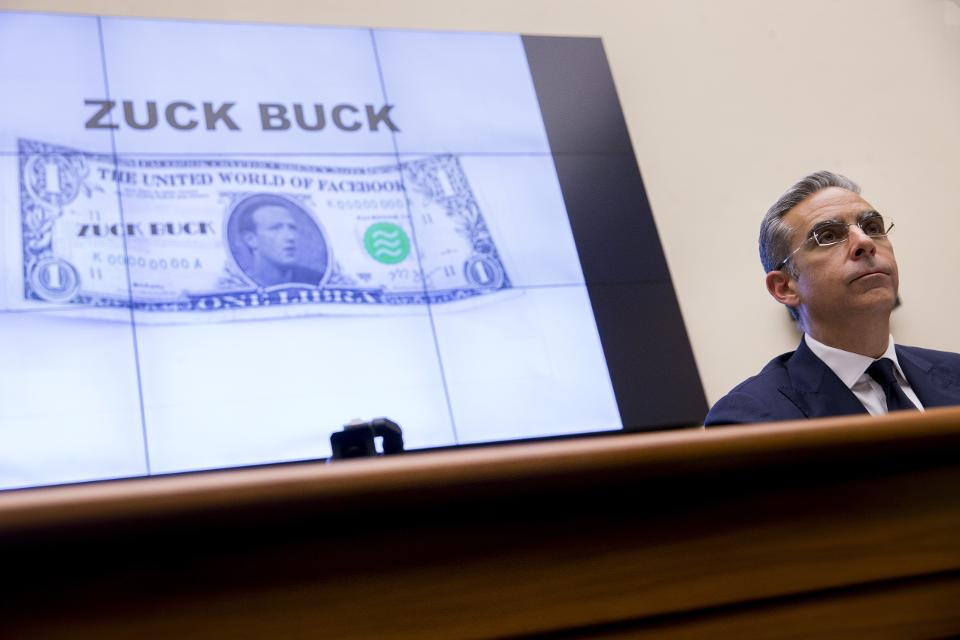 A Zuck Buck is displayed on a monitor as David Marcus, head of blockchain with Facebook Inc., right, is questioned by Representative Brad Sherman, a Democrat from California, not pictured, during a House Financial Services Committee hearing in© 2019 BLOOMBERG FINANCE LP