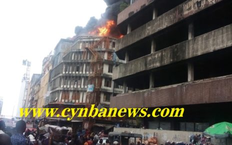 balogun market lagos Island on fire