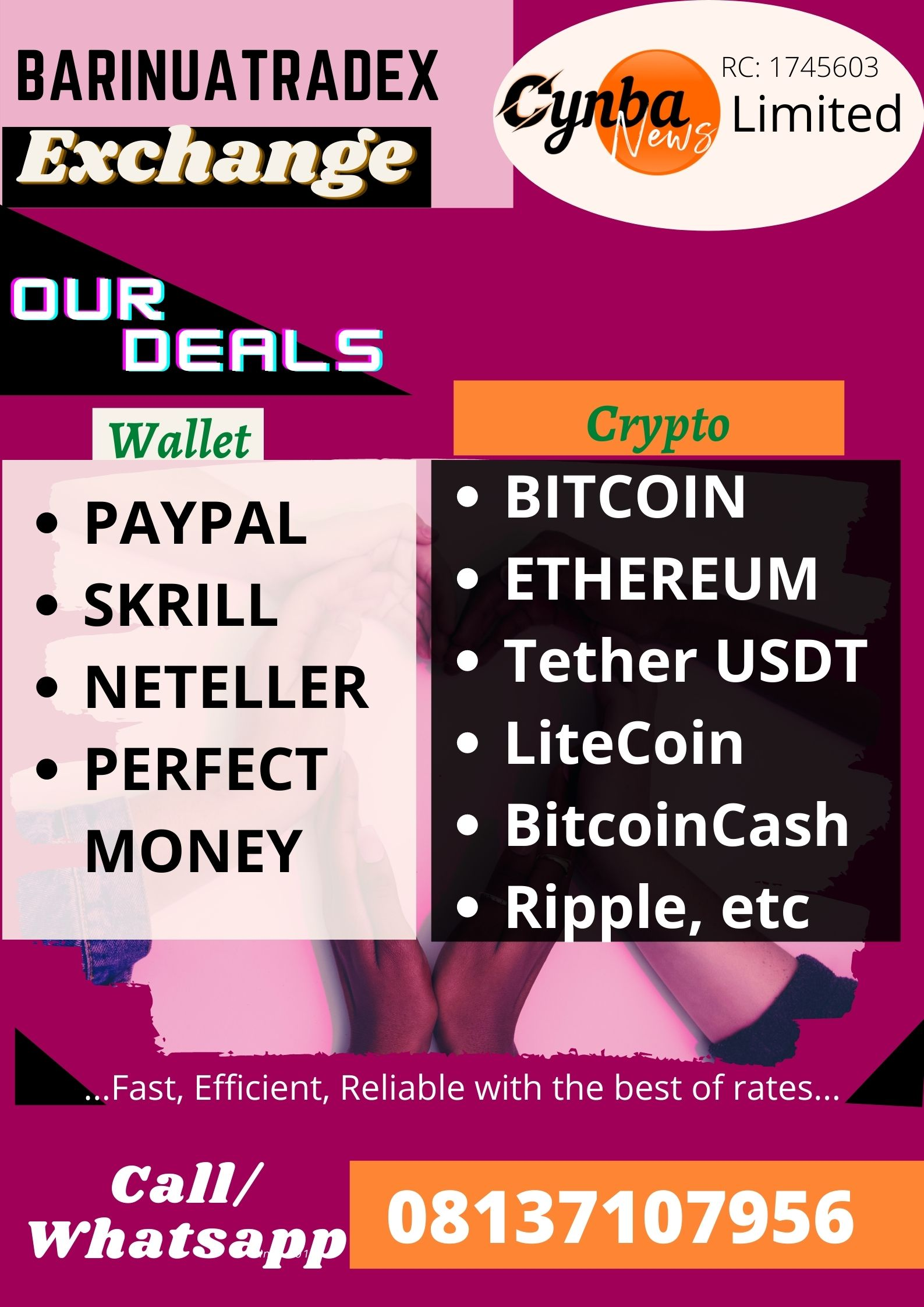skrill, neteller, btc, paypal and perfect money agent in Port Harcourt Nigeria